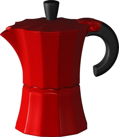 Gnali & Zani designed Morosina Express moka style stove-top aluminium espresso coffee maker in red.