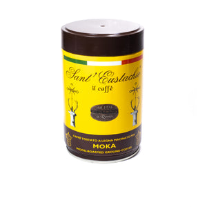 Sant'Eustachio ground  Italian coffee in a yellow tin with red writing