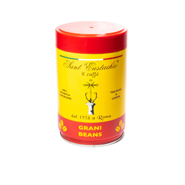 Sant'Eustachio whole bean Italian coffee in a yellow tin with red writing