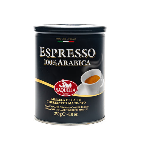 Saquella Espresso tin of ground coffee