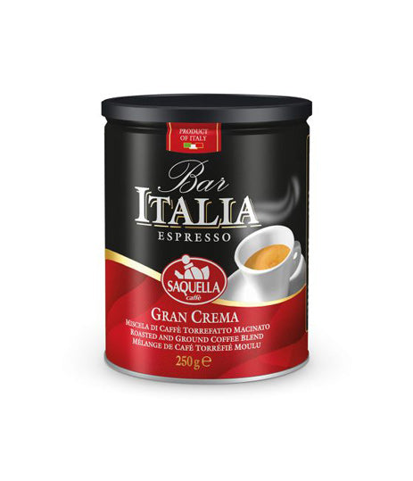 Saquella Bar Italia Gran Crema Tin GROUND