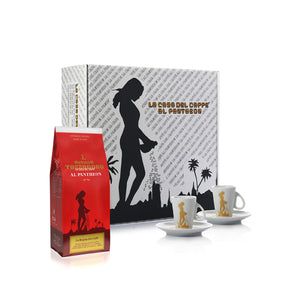 tazza d'oro gift box with 2 cups and saucers and a bag of beans