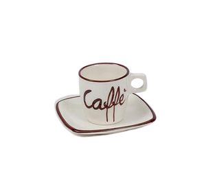 "white espresso cup with the word """"Caffè"" written on it in brown. sitting on a matching saucer with a brown stripe around the edges."
