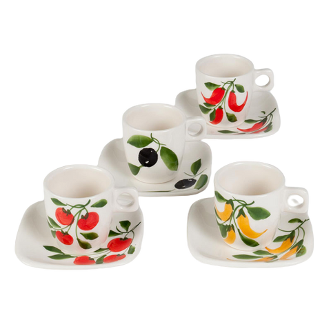 set of 4 cappuccino cups and saucers with various vegetables hand painted on them