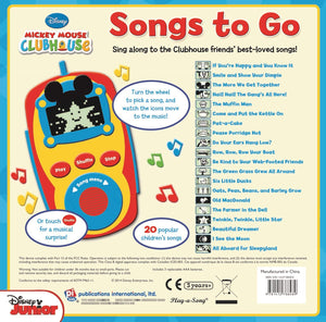 Mickey Mouse Clubhouse: Songs to Go. Digital Music Player. Back Side