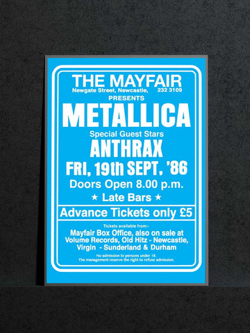 Metallica - Newcastle Mayfair - 1986