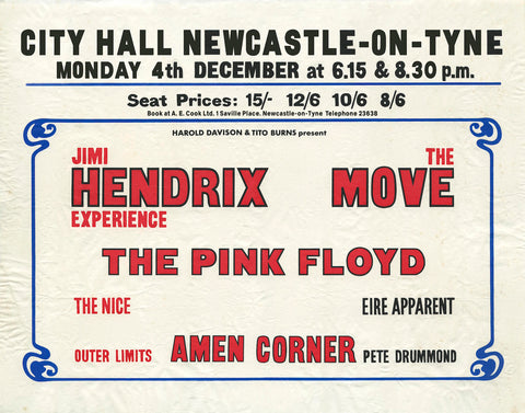 Jimi Hendrix Newcastle City Hall Pink Floyd