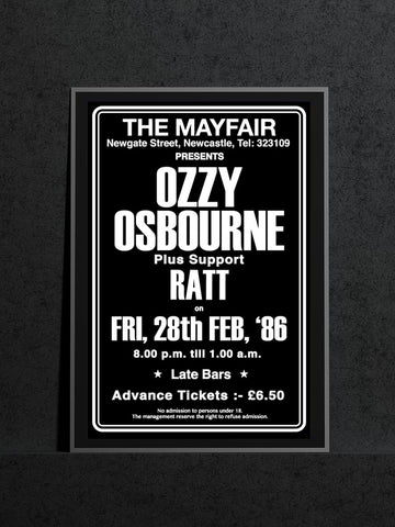 Ozzy Osbourne - Newcastle Mayfair - 1986