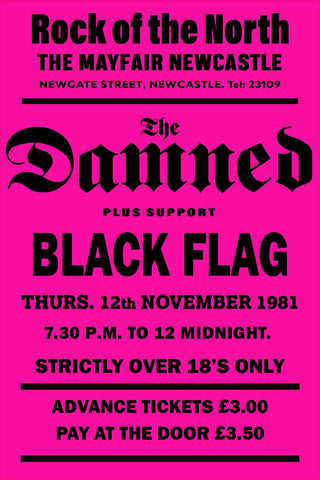 The Damned Black Flag Newcastle Mayfair