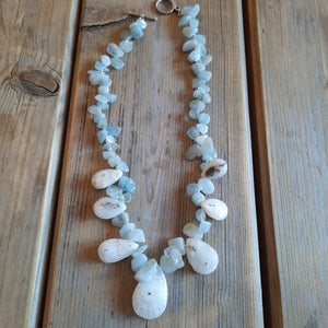 Kyanite and fossilized quartz necklace