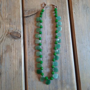 Aventurine petal hearts with faceted jade necklace.