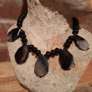 Black/grey faceted quartz and onyx necklace