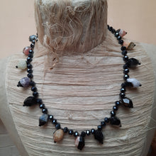 Quartz and haematite long necklace