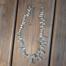 Freshwater pearl and aquamarine necklace
