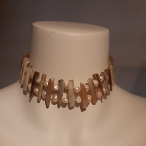 Freshwater pearl and mother of pearl choker