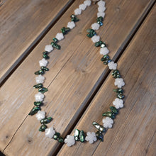 Freshwater blister pearl and quartz necklace.