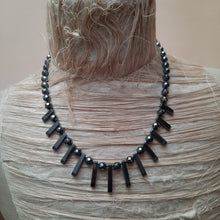 Hematite necklace and earrings.