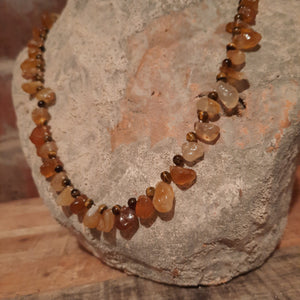 Tigers eye with uncut citrine quartz necklace.