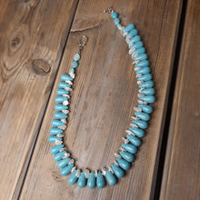 Turquoise and freshwater pearl necklace.