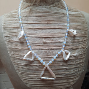 Moonstone and biwa pearl necklace.