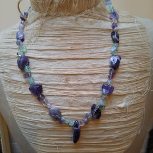 Amethyst and fluorite necklace.