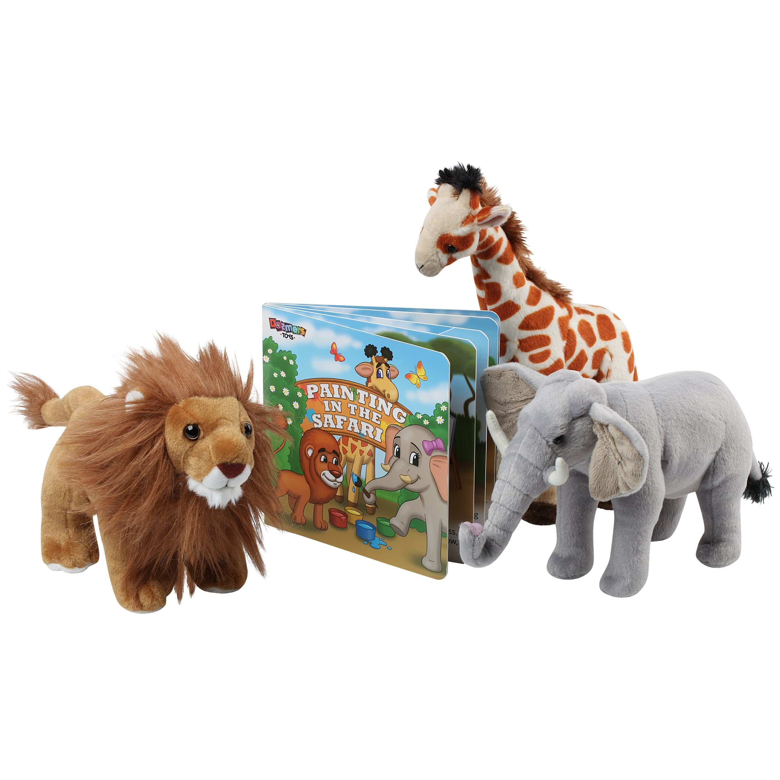 Stuffed Animals of 3 Savanna Animals with Storybook - 12""
