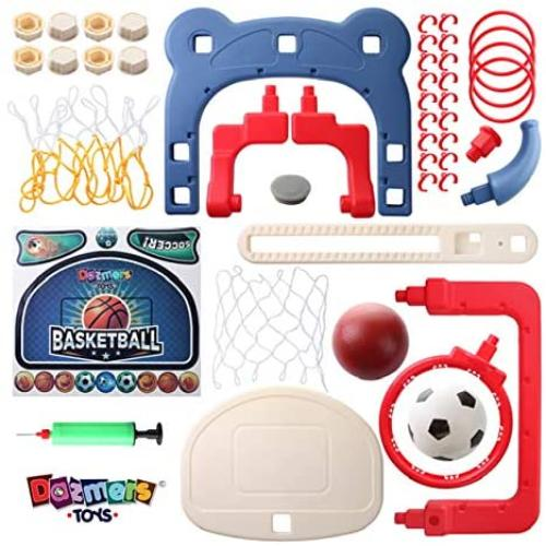 3-in-1 Kids Sports Center: Basketball Hoop, Soccer Goal, Ring Toss Playset