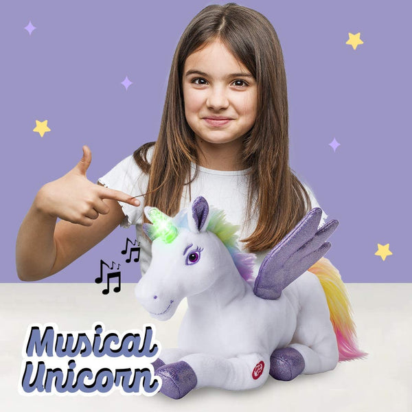 Unicorn Stuffed Animal with Flapping Wings