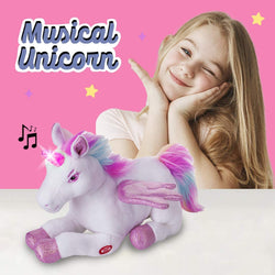 Unicorn Stuffed Musical Animal Toy with Flapping Wings