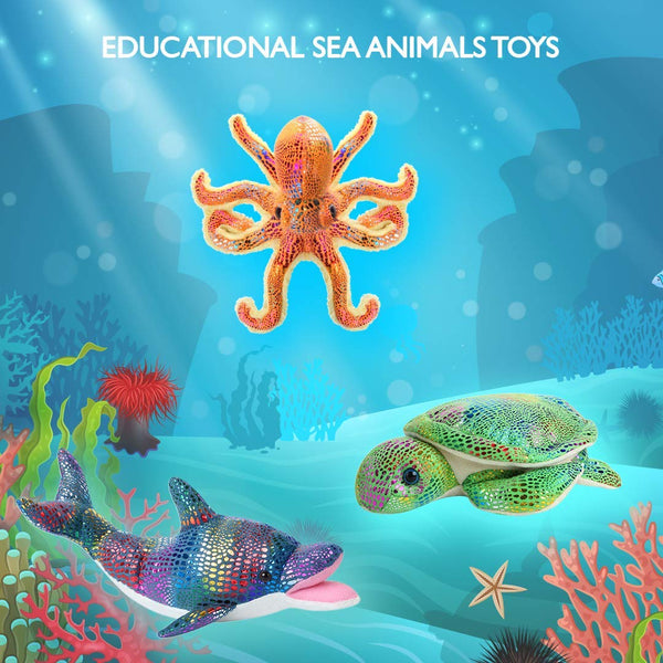 Glitter Sea Animals Plush Toys Set of 3 Ocean Sea Creatures – Octopus, Dolphin and Sea Turtle