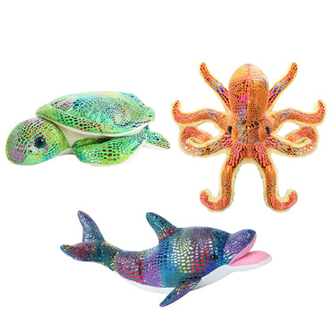 Glitter Animals Plush Toys Set of 3 Ocean Sea Creatures