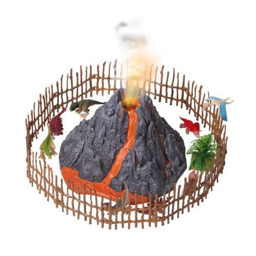 Mist-spouting Volcano Set with 8 Dinosaurs Figures