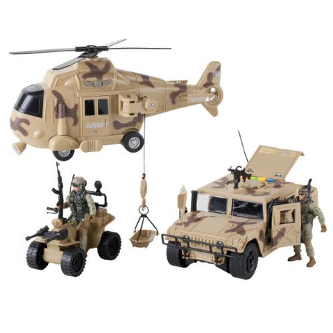 Military Action Figures and Vehicles Set