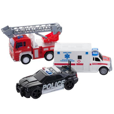 Friction Powered Fire Engine Truck, Ambulance and Police Car