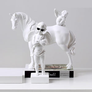 Cupid Angel Horse Statue - Dope Angels