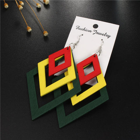Long Geometric Rasta Earring