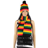 Rasta Stripe Beanie and Scarf Set