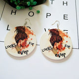 """Locks Forever"" Round Wooden Earrings"