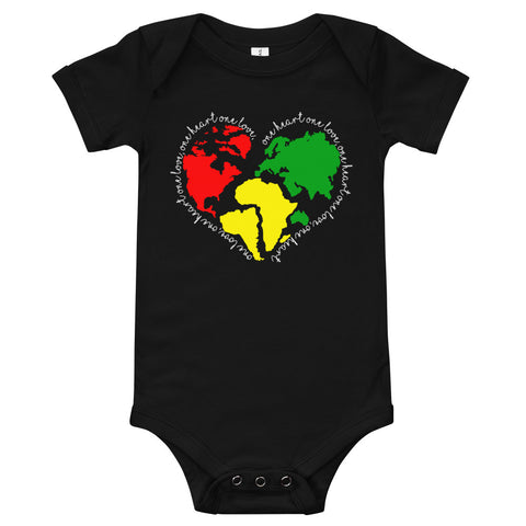 One Love One Heart Black Onesie