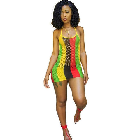 Rasta Mesh Tank Top Beach Cover up/ Dress