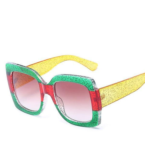 Oversized Rasta Color SunGlasses