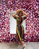 Sexy Mesh Midi Dress (Rasta/Belize Colors)