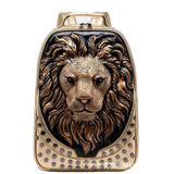 3D Lion Head Rivet Backpack