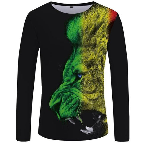 Roaring Rasta Lion Long T Shirt