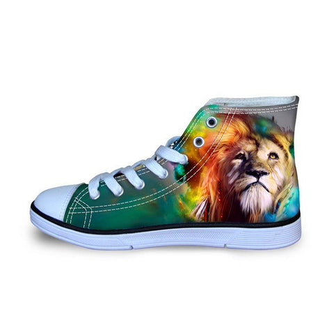 Kid's  Rasta Lion Canvas Sneakers