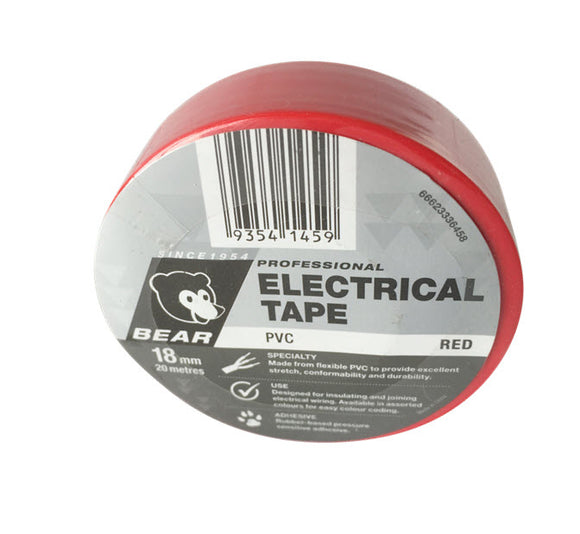 TAPE ELECTRICAL RED 18mm X 20m (P-66623336458)