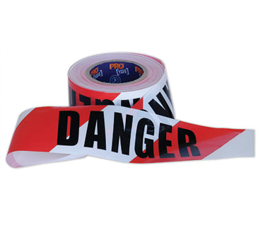 TAPE BARRICADE 75mm X 100m RED/WHITE DANGER (SAF-DT10075)