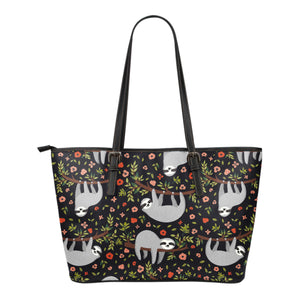 Sloth Leather Tote Bag