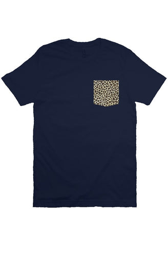 Leopard Navy Pocket T-Shirt