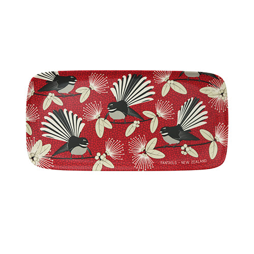 Bamboo Tray - Flirting Fantails Red